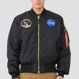 Apollo MA-1 Flight Black Bomber Jacket Mens Large